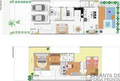 Pojeto Casa Sobrado CS 27 | Planta de Casa Pronta Suites, House Plans, Cs, Floor Plans, How To Plan, Duplex House Plans, Modern Architecture, Garden, Trendy Tree