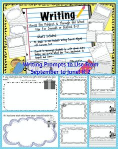 $7.50) #writingprompts #K-2 #Writing Writing Across the Holidays & Through the School Year for Journals or Stations K-2 What's Included:81 Ready to Use Printable Writing Frames aligned with Common Core ( First Grade W 1.1,1.2,1.3 ) Frames to encourage students to write about every holiday and special school day from September to August and more…Ideas to last a LONG Time that aligned with Common Core!!