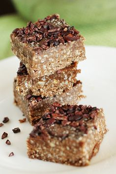 Homemade Double-Chocolate Power Bars. Delicious, plus paleo, grain-free, gluten-free, dairy-free, easily made vegan, and unprocessed.