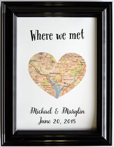 Custom Wedding Anniversary Gift For Couples Personalized Map Art Engagement Gifts Map Heart Print Where We Met Proposed Presents Fiance Him - Geschenke - Personalized Anniversary Gifts, Anniversary Gifts For Couples, Boyfriend Anniversary Gifts, Boyfriend Gifts, 1 Year Anniversary Gift Ideas For Him, Dating Anniversary, Homemade Anniversary Gifts, Surprise Boyfriend, Anniversary Surprise For Him