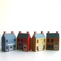 vintage Primitive Folk Art Miniature Wood Buildings