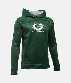 Boys' Green Bay Packers NFL Combine Authentic UA Storm Armour® Fleece Printed Hoodie, Green Bay Packers, zoomed image