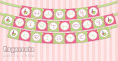 Printable DIY Pink and Green Spa Party Theme Birthday Banner (also available assembled). $8.00, via Etsy.