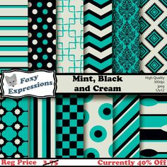New to FoxyExpressions on Etsy: Mint Black and Cream Digital Paper pack comes in modern and vintage designs including damask chevron spoons polka dots stripes & more (2.25 USD)