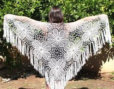 Evening Shawl Crocheted Shawl Wedding Wrap Ivory off white shawl lace knit Shawl Wedding Shawl Wraps Shawls Ivory Wrap Shawl It just doesn't get any better than this! My delicate hand-knit white scarf is both chic and stylish. It's a divine accessory to wear as part of your wedding day ensemble. However, it really is perfect for any occasion. Whether you're taking a stroll at the park or attending the opera, this gorgeous shawl will take your outfit to even greater heights! This is a unique acce Knitted Shawls, Crochet Shawl, Crochet Stitches, Bridal Shrug, White Shawl, Evening Shawls, Crochet Wedding, Wedding Wraps, Wedding Shawl