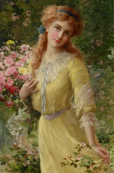 In the Garden (1910). Emile Vernon (French, 1872-1919). Oil on canvas. Vernon was a painter of portraits, figures, still lifes, landscapes, flowers and fruits. He studied with Bouguereau and Trupheme. In 1898, he exhibited for the first time at the Salon des Artistes Francais. He exhibited regularly at the Salon from 1898 to 1913. He presented his paintings which were portraits, landscapes bouquets and feminine figures which became his specialty. Source:Visit books0977.tumblr.com