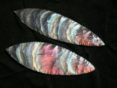 Hand-knapped California Rainbow Obsidian blades