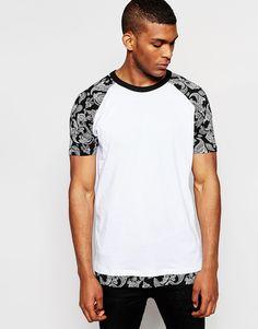 Image 1 ofASOS Longline T-Shirt With Bandana Print Raglan Sleeves