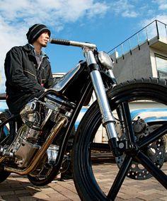 hide moto chopper rigide