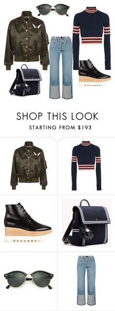 """""""Casual outfit. Bomber, flared jeans."""" by olgaadams ❤ liked on Polyvore featuring Tommy Hilfiger, Versace, STELLA McCARTNEY, Ray-Ban and rag & bone"""
