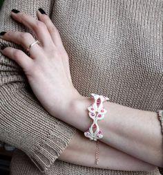 Chic bracelet, macrame bracelet, swarovski bracelet, pink gold bracelet, gift for her, birthday gift, wedding day. by EsmeJewelleryArt on Etsy