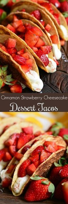 Cinnamon Strawberry Cheesecake Dessert Tacos — Crunchy corn taco shells are coated in butter and cinnamon sugar mixture, baked, and filled with no-bake cheesecake filling and fresh, cinnamon kissed strawberries. No Bake Cheesecake Filling, Cheesecake Desserts, Strawberry Cheesecake, Easy Desserts, Delicious Desserts, Yummy Food, Sweet Desserts, Think Food, I Love Food