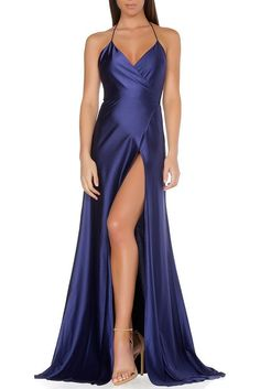 This classic timeless cut is a staple piece for any socialite. Made of the finest jersey material form fitting and flowy. Features a low back, high slit with wrap front that adjust to fit on waist lin Royal Blue Prom Dresses, Grad Dresses, Ball Dresses, Satin Dresses, Sexy Dresses, Formal Dresses, Beautiful Gowns, Special Occasion Dresses, Dress Patterns