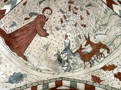 Dieu créant les animaux, 1480, fresques de l'église de Vittskövle, Suède