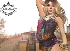 July Amour De La Mort. Free SL Swimsuit. The Tiedye maillot modern bohemian style swimsuit is now available as a group gift for July 2016.