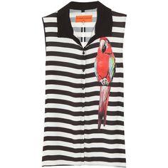 Clover Canyon Jail Bird printed sleeveless shirt (2,150 MXN) ❤ liked on Polyvore featuring tops, top - shirt/blouse, striped shirt, loose fitting tops, shirt top, no sleeve shirt and loose sleeveless tops