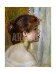 Head of a Young Woman, Late 19th Century Giclee Print by Pierre-Auguste Renoir at Art.com