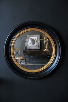 Black  Gold Framed Convex Mirror - Small                                                                                                                                                     More