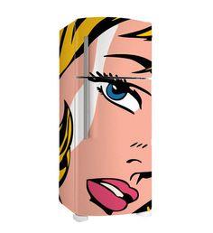 Adesivo para Geladeira Pop Girl - 2 portas