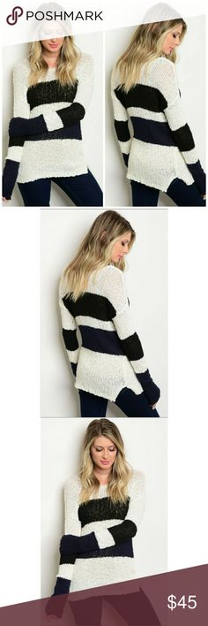 🌟NEW! Ivory/Black Fuzzy Sweater Super chic & cozy!   IVORY BLACK Scoop Neck • Long Sleeve • Fuzzy • Side Slits • Sweater  Fabric Content: 100% COTTON Sizes: M-L   ▪ Price Is Firm  ▪ No Trades  ▪ Fast Shipping Moda Ragazza Sweaters