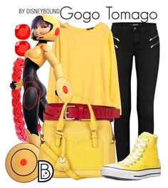 """Gogo Tomago"" by leslieakay ❤ liked on Polyvore featuring J Brand, Domo Beads, Kate Spade, H&M, Liz Claiborne, Nica, Converse, disney, disneybound and disneycharacter"