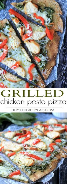 Spice up your pizza night with this Grilled Chicken Pesto Pizza. Whole Wheat Pizza Dough, Homemade Pesto, red peppers, and chicken all made on the grill! Absolutely delicious! | joyfulhealthyeats.com #recipes