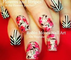 Nail Art Tutorial | Floral Nails | Flower and Stripes Nail Design