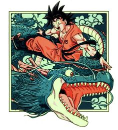 Goku and Shenlong   Dragon Ball Z