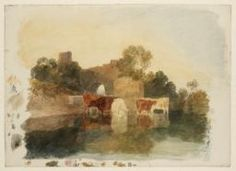 Joseph Mallord William Turner 'Cattle in a Stream, with Ruins on the Bank', c.1800