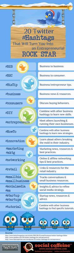 20 Twitter Hash tags that will turn you into an entrepreneurial Rock Star #infographic