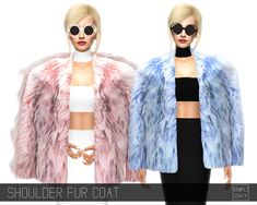 "simpliciaty: "" SHOULDER FUR COAT I loved this fur coat by so I had to convert it to the sims ♥ The one with the fur doesn't look as good as the original one, because I suck and. Sims 4 Cas, My Sims, Sims Cc, Maxis, Off Shoulder Jacket, Cc Top, Sims 4 Anime, The Sims 4 Cabelos, Pelo Sims"