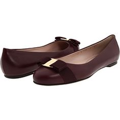Salvatore Ferragamo Varina flats in Oxblood leather $395