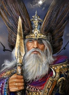 Odin, arrayed for battle armed with Gungnir and flanked by Hunin and Munin. The Norse did not believe their gods immortal. Even Odin, the chief of their pantheon was fated to die at Ragnarok, fighting the all-devouring Wolf, Fenrir. Odin Norse Mythology, Norse Pagan, Pagan Gods, Art Viking, Viking Warrior, Thor, Fenrir Tattoo, Norse Tattoo, Valkyrie Tattoo