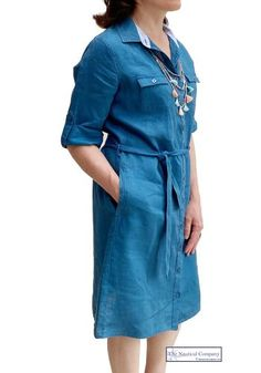 Linen Shirt Dress, Belted Shirt Dress, Sailor Shirt, Nautical Fashion, Teal Blue, Stylish, Sleeves, How To Wear, Shirts