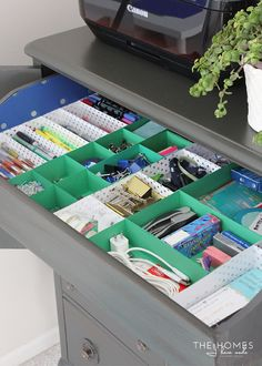 IHeart Organizing: UHeart Organizing: Office in an Armoire (With DIY Paper Drawer Dividers!)