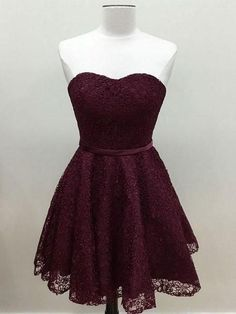Strapless Grape Lace Short Bridesmaid Dresses,Cheap Homecoming Dresses APD2735