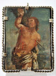 Antigüedades: ANTIGUO RELICARIO DE PLATA DE LEY, CON 15 RELIQUIAS, Y UNA PINTURA DE SAN SEBASTIAN S.G.XVIII - Foto 9 - 60923631