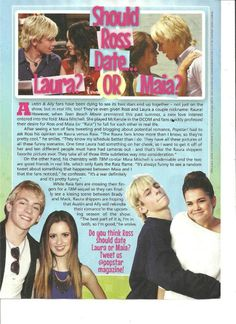 ross lynch laura marano maia mitchell full page pinup clipping one direction
