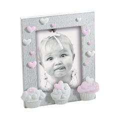 PORTAFOTO IN LEGNO A173   Portaritratti in legno sbiancato con decorazioni cupcakes in resina