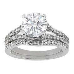 Round Diamond Pave Split Band Trellis Bridal Set