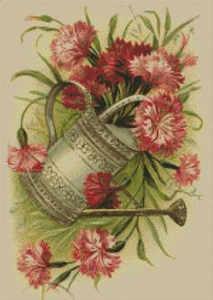 Cross stitch chart Water Can pattern Flower Garden Plant Carnations