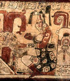 Ix Chel als Mondgötiin mit Kaninchen, auf Keramik der klassischen Periode