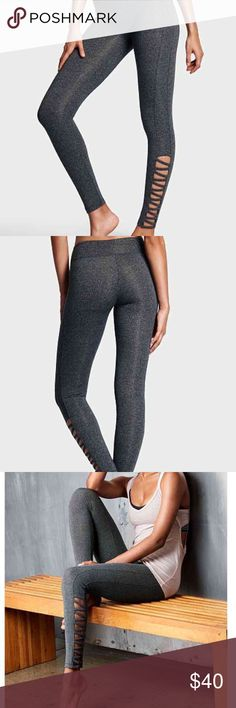 Large VICTORIA SPORT Anytime Legging VICTORIA SPORT Anytime Legging Size large  Color Black/White Marl/Strappy New PINK Victoria's Secret Pants Leggings