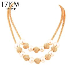 17KM Multi layers Chain simulated Pearl Metal Ball Pendants Necklaces Women Collares Chokers Statement Accessories Collier joyas