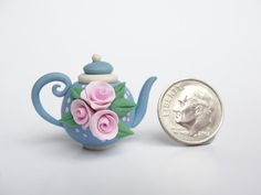 Miniature teapot for 1/12 scale dollhouse in blue by fizzyclaret