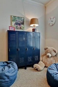 Lockers as Storage + MORE Boy Bedroom Ideas
