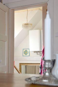 Scandinavian style, MaMandala, metal candlestick, picture, white wooden door, golden mirror, crystal Chandelier, hall, teak table, wood, living, interior