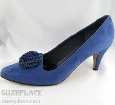 7.5 Enzo Angiolini Couro Camurça Preto Peep Toe sapatos de