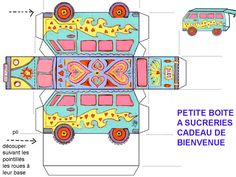 7 Best Images of VW Bus Paper Template Printable - VW Cars Paper Model Template, VW Bus Template Printable and Printable Camper Paper Template Printable Box, Free Printables, Party Printables, Paper Car, Paper Toys, Happy Bus, 3d Templates, Hippie Party, Diy Box