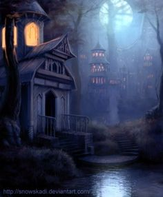 Cool fantasy town. Would make a good setting for a story. by szelann